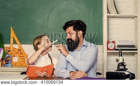 Private Lesson. School Teacher And Schoolgirl. Pedagogue Skills. Talented Pedagogue. Work Together T