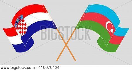 Crossed And Waving Flags Of Azerbaijan And Croatia. Vector Illustration