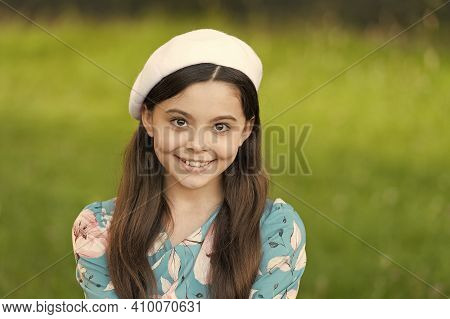 Grow Up With Smiling. Happy Kid With Cheerful Smiling Face Outdoors. Little Girl Happy Smiling With