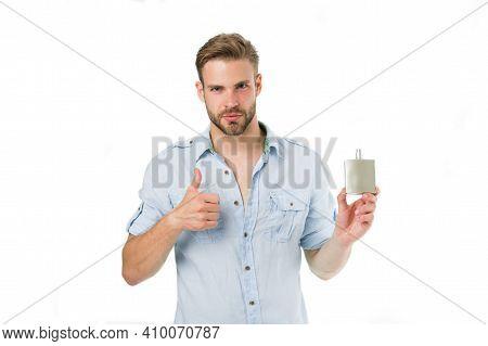 Man Confident Face Recommend Perfume Shows Thumb Up Gesture. Guy With Bristle Bottle Perfume He Like