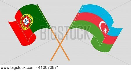 Crossed And Waving Flags Of Azerbaijan And Portugal. Vector Illustration
