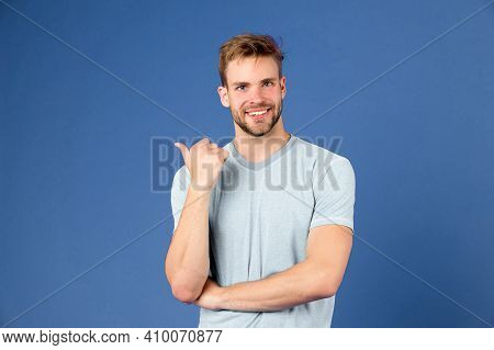 Look There. Masculinity Concept. Man With Strong Muscular Arms. Does Having Muscular Body Make You M
