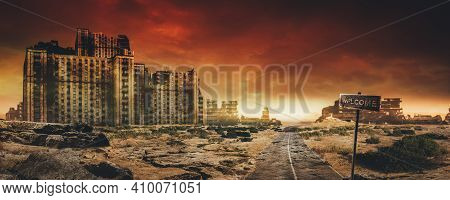 Evening Post Apocalyptic Background Image Of Desert City Wasteland With Abandoned And Destroyed Buid