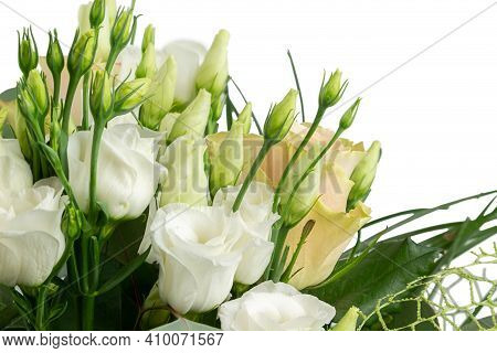 Fresh And Lush Bouquet Of Colorful Flowers Isolated On White Background. Flower Greeting Card Templa