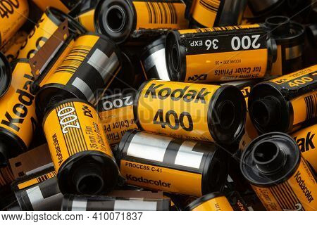 Latvia, Talsi, February 26, 2021: A Lot Of Kodak Film Cartridge. Used And Empty Cartridges Colorful