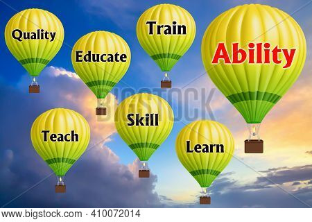 Hot Air Balloons With Ability Concept. Abstract Background, Thinking And Creativity. 3d Illustration