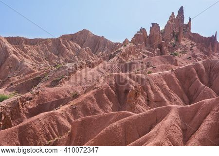 Clay Soils Of Different Colors In The Mountains Of Kyrgyzstan.