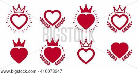 Vector Heart Shaped Stamps Or Stickers Set Isolated Over White, Classical Badges Or Icons, Logotypes