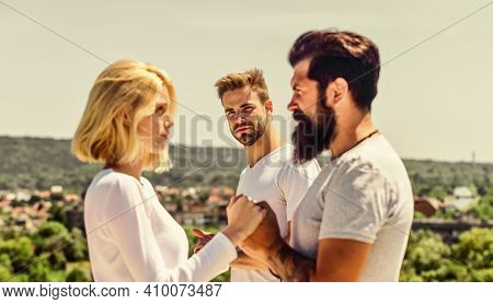 Couple In Love. Third Wheel Man. Interpersonal Relationship. Happiness Or Misfortune. Family Psychol