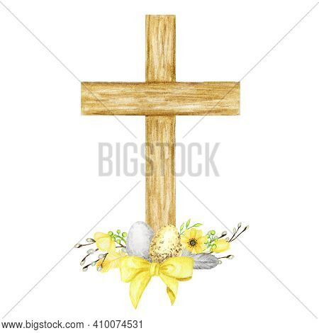Easter Wooden Christian Cross With Flowers And Eggs. Catholic Church Floral Cross Isolated On White