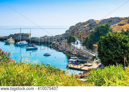 Rhodes, Greece - 14 August 2019: Sunset Landscape Of Beautiful  St. Paul's Bay In Rhodes Island With
