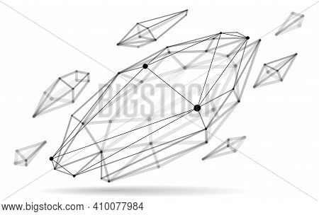 Abstract 3D Mesh Shape Vector Illustration, Dots Connected With Lines Technology Polygonal Object Is