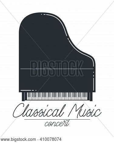 Classical Music Emblem Or Logo Vector Flat Style Illustration Isolated, Piano Logotype For Recording