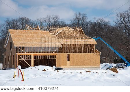 Winter Construction Of A Plywood House Roof Framework New