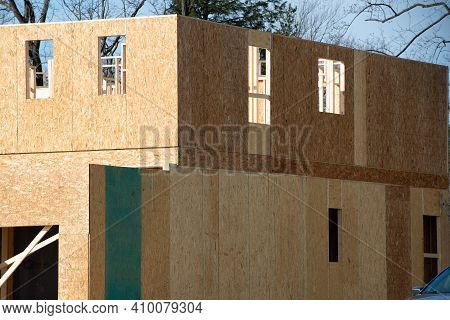 Construction Of The Walls Of A Plywood House Work