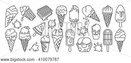 Ice Cream Black Line Icon Set Sweet Splash Vector