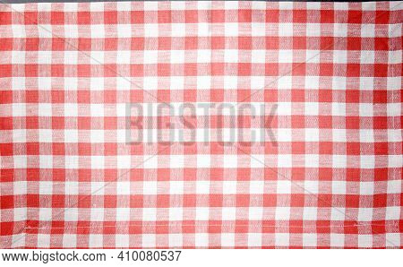 Red And White Vintage Background, Tablecloth For Design And With Space For Text For Menu