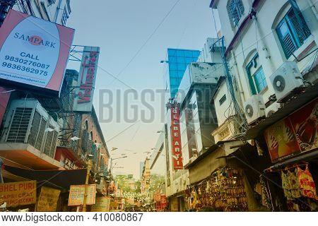 Kolkata, West Bengal, India - 10th September 2019 : Shops Outside Globe Shopping Mall, Formerly Glob
