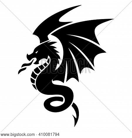 Dragon Tattoo Mockup. Dragon T-shirt Print. Vector Image