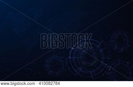 Technology Digital Futuristic Background Concept.dark Blue With Various Technology Elements Hi-tech