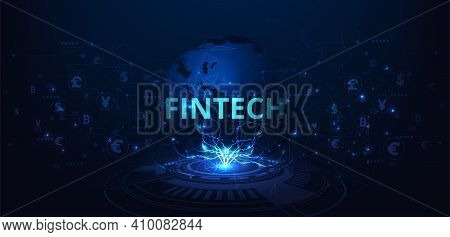 Fintech Technology Concept. Money Transfers, Payments, Foreign Exchange.capital Flow On Blue Backgro