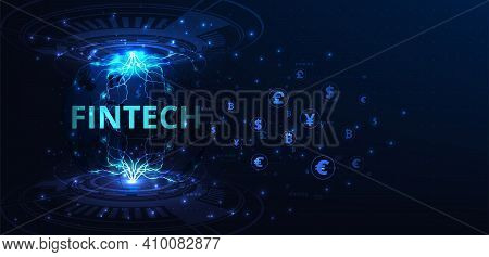 Financial Technology Concept.foreign Exchange.capital Flow On Blue Background.fin Tech.vector Illust