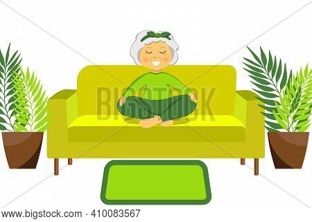 Sporty Granny Does Yoga On A Sofa. Old Person. Vector Colorful Cartoon Illustration. Senior Woman In