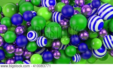 Multicolored Balloons With Circular Rotation As Background And Texture, Seamless Loop. Animation. Cl