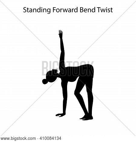 Standing Forward Bend Twist Pose Yoga Workout Silhouette On The White Background. Vector Illustratio