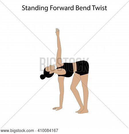 Standing Forward Bend Twist Pose Yoga Workout On The White Background. Vector Illustration