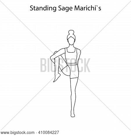 Standing Sage Marichis Pose Yoga Workout Outline On The White Background. Vector Illustration