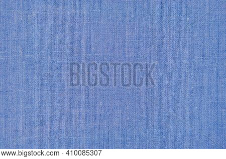Natural Dark Pastel Pale Blue Rustic Flax Fiber Linen Fabric Swatch Texture Vertical Pattern, Horizo