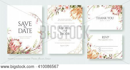 Set Of Floral Wedding Invitation Card, Save The Date, Thank You, Rsvp Template. Vector. Hydrangea Fl