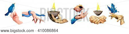 Collection Of Different Hands.set Of Arm With A Big Blue Butterfly, Snake, A Cup Of Fire,seashell, B