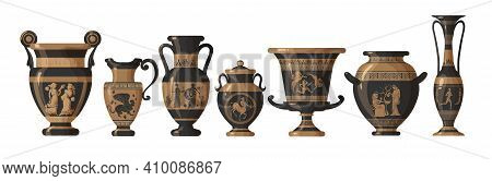 Set Of Antique Greek Amphoras, Vases With Patterns, Decorations And Life Scenes. Ancient Decorative