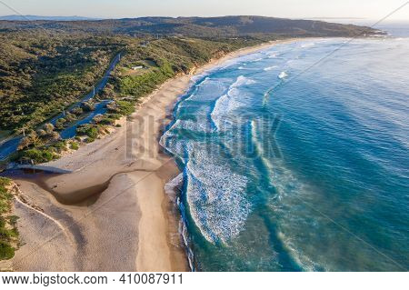Aerial View Of Beach At Catherine Hill Bay - Nsw Australia. Surrounded By Bushland This As A Wonderf