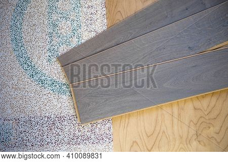 Laminate Sheets Lie On Plywood With A Backing. Preparation For Styling. Apartment