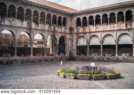 Cuzco, Peru - July 27 2010: Courtyard Of The Convento Santo Domingo Monastery Convent In The Corican