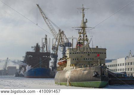 Saint Petersburg, Russia - February 15, 2021: The Old Icebreaker