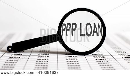 Magnifier With Text Ppp Loan On Chart Background