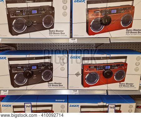 Mackay, Queensland, Australia - February 2021: Retro Blaster Cd Boom Box For Sale In Shopping Center