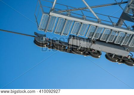Close Up Of Gears And Pulleys Of A Ski Lift At A Winter Sports Resort.