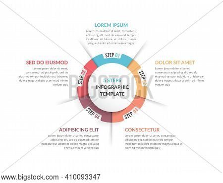 Circle Diagram Template With Five Steps Or Options, Infographic Template For Web, Business, Presenta