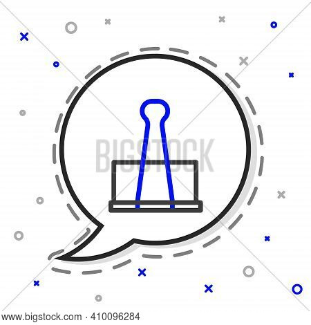 Line Binder Clip Icon Isolated On White Background. Paper Clip. Colorful Outline Concept. Vector Ill