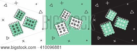 Set Cracker Biscuit Icon Isolated On White And Green, Black Background. Sweet Cookie. Vector Illustr