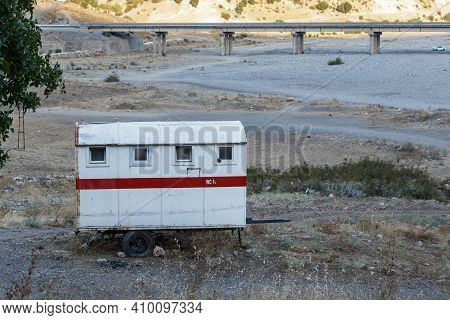 Kahta, Turkey - October 8, 2020: This Is A Mobile Toilet Near A Tourist Site In A Remote Area.