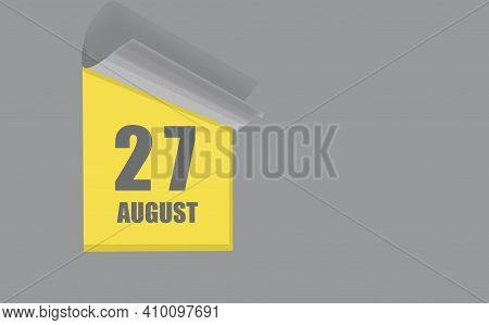August 27. 27-th Day Of The Month, Calendar Date. Gray Numbers In A Yellow Window, On A Solid Isolat