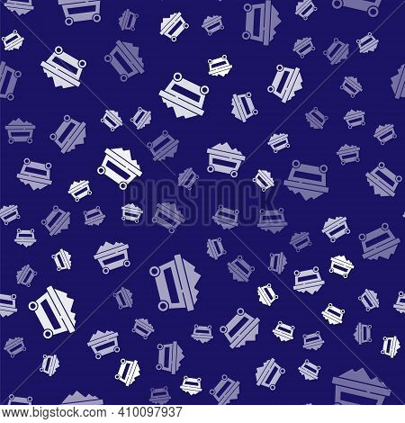 White Coal Mine Trolley Icon Isolated Seamless Pattern On Blue Background. Factory Coal Mine Trolley