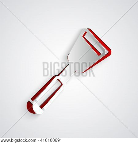 Paper Cut Spatula Icon Isolated On Grey Background. Kitchen Spatula Icon. Bbq Spatula Sign. Barbecue