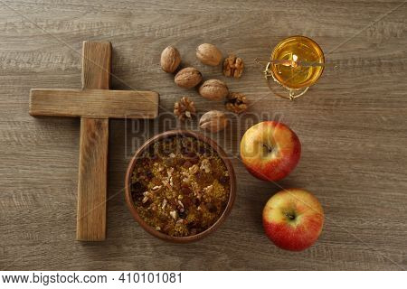 Cross And Fasting Meals On Wooden Table, Flat Lay. Lent Season